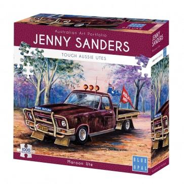 Blue Opal Jenny Sanders Maroon Ute Jigsaw Puzzle