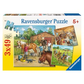 Rburg - A Day with Horses Puzzle 3x49pc